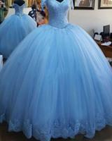 quinceanera освещает платья оптовых-Светло-синий бальное платье Принцесса Quinceanera платья Cap рукавом аппликации из бисера тюль зашнуровать обратно Пром платья сладкий 16 день рождения платья