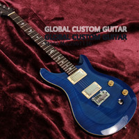 Wholesale Tiger Flame Maple - High quality blue color ps electric guitar,Tiger stripe flame flamed maple,Real photos,free shipping Promotional activities