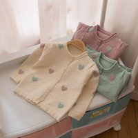 Wholesale Girl Love Cardigan - Everweekend Baby Girls Love Knitted Sweater Cardigans Tops Candy Color Cute Toddler Baby Autumn Winter Jacket Outwears