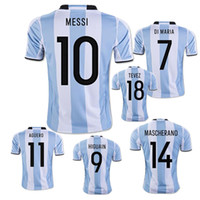 Wholesale Shirt Football Argentina - Wholesale New Argentina World Cup soccer Jersey 17 18 MESSI home DI MARIA AGUERO thai quality Argentina football shirts 2017