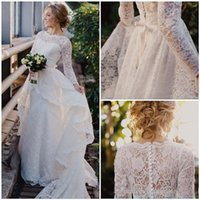 Wholesale Detachable Beach Wedding Gowns - Long Sleeves Wedding Dresses 2017 New with Lace Detachable Train Overskirts Modest Sweetheart Applique Beach Bridal Gowns