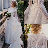 Wholesale white multicolor wedding dresses resale online - Bohemian Long Sleeves Wedding Dresses with Lace Detachable Train Overskirts Applique Beach Bridal Gowns Plus Size Vestidos De Novia