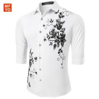 Wholesale Wholesale Half Sleeve Shirts - Wholesale- Summer New luxury Mens Casual Shirts Fashion Half Sleeve Brand Floral Printed Formal Business Men Dress Shirt chemise homme
