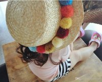 Wholesale Wholesale Church Decorations - New fashion trend cute color hair ball flat top straw strawberry hat sunscreen camera decoration cap children section