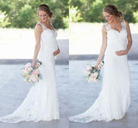 Wholesale Maternity Dresses For Beach Weddings - New Elegant Lace Maternity Wedding Dresses Cheap Romantic V Neck Empire Waist Wedding Dresses For Pregnant Women Plus Size Bridal Gowns