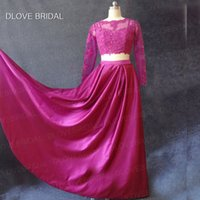 Wholesale Cheap Dance Floor Lights - Hot Sale Black Cheap Two   Three Pieces Prom Dresses Long With Sleeves A Line Sexy Crew lace Evening Dance Dresses Factory Real Photo