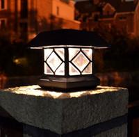 Wholesale Fence Stakes - Solar column headlights outdoor lights garden lights fence stakes Waterproof warm white LED solar street light LLFA