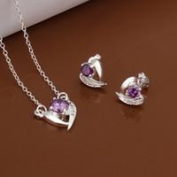 boda púrpura del diamante fijada al por mayor-boda con incrustaciones de diamantes de color púrpura plateado plata conjuntos de joyas para las mujeres WS531, popular 925 pulsera de plata collar de la joyería