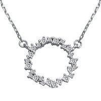 Wholesale First Engagement - First class products Rave reviews 925 sterling silver White Cubic Zirconia Necklaces SS--LJL014 Fashion jewelry Explosion models Sporty