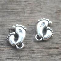 ingrosso fascini di piedi d'argento-15pcs - Charms Footprint argento antico di tono così sveglio Mother and Child pendenti del piede / fascino 16x20mm