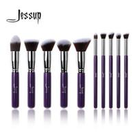 Wholesale purple kabuki brush for sale - Group buy Professional Purple Silver Jessup Brand Makeup Brushes Sets Beauty Tools Foundation Kabuki Cosmetics Kits Make Up Brush