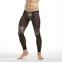 Wholesale Transparent Male Bottoms - Gay male tights Leggings Sleep Bottoms Sheer Long Pants Transparent Lounge see through mesh lace Lounge Lace fashion underwear