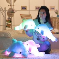 Wholesale Plush Toys Dolphin - Wholesale- 45cm Luminous Flashing Colorful Dolphin Pillow With LED Light Soft Toy Cushion Plush Stuffed Doll For Party Birthday Gift