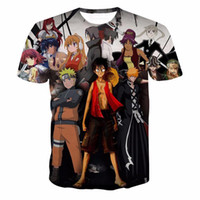 camiseta de impresión de una pieza al por mayor-Las camisetas más nuevas de los héroes del anime imprime la camiseta clásica de Naruto / One Piece Luffy Hombres de las mujeres Camisetas ocasionales de Harajuku del verano