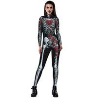 Wholesale Sexy Zentai Spiderman - Halloween Costumes For Women Sexy 3D Rose Skull printing Jumpsuits Tight Spiderman Cosplay Catsuit Costumes