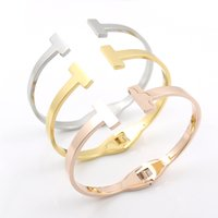 Wholesale Stainless Steel Women S Bracelets - Wholesale- 2017 New Design Smooth T Cuff Bangle Rose Gold Plated Opening S Steel Bracelet For men and women fashion Party jewellry