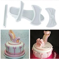 Vente en gros - Brand New Shape 9pcs / set en plastique Sandal Fondant Moule Lady High-Heeled Shoe Cake Moule à la coque Hot
