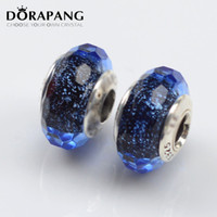 Wholesale Vintage Glass Beads Necklace - DORAPANG Loose Bead 100% 925 Sterling Silver Vintage Night Sky Glass beads Charm Fits European Jewelry Bracelet Necklace Christmas Gift 0014
