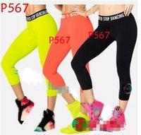 Wholesale Green Striped Leggings - S M L woman dance pants Never Stop Dancing Capri Leggings black orange green