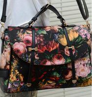 Wholesale Painted Satchel - Wholesale-Fashion Retro Printing Rose Oil Painting Bags Women PU Leather Handbags Women Messenger Bags Shoulder Bags Clutch