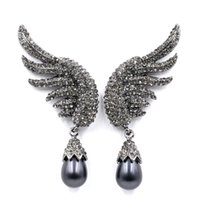 Wholesale Gold Earrings Designs Price - 2017 New brand design statement fashion stud Earrings for women simulated pearl wing earring Factory Price earring