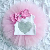 Wholesale Girls Heart Skirt - Three-pieces Newborn Baby Girls Heart Rompers with Lace tutu Skirts with bow Headbands 2017 childrens Summer Outfits kids sets
