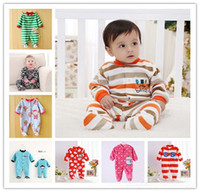 Wholesale Baby Footed Rompers Fleece - Baby Pajamas Fleece Foot Cover Baby Rompers Baby Bodysuits Toddler Pajamas One-Piece Romper Pure Cotton Baby Climb Clothes Pajamas