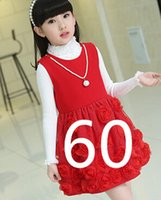 Wholesale Girls Kids Autumn Dresses - free shipping fashion new autumn winter girl dress warm dress baby kids clothing