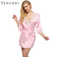 Ekouaer Sexy Nightwear Lace Patchwork Satin Robe Short Women 3/4 Sleeve Deep V Robes Свадебная невеста Невесты Халат Пижамы
