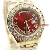 unisex için saatler toptan satış-Lüks Marka Altın Başkan Günü-Tarih Diamonds İzle Erkekler Paslanmaz Inci Kadran Elmas Çerçeve Otomatik Kol Saati AAA erkek Saatler