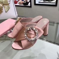 Wholesale Wedding Booties - New arrival 2017 summer pearls buckle santin high heeled slippers fashion woman's high heels wedding shoes EU34-39