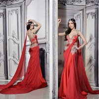 Wholesale Indian Fashion Wear - Gorgeous Indian Dresses Long Formal Red Evening Gowns Sheer Straps Court Train Ruched Chiffon Lace Appliques Prom Dress with Ribbon
