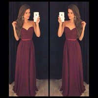 Wholesale Christmas Petite Dresses - Simple Burgundy Christmas Party Prom Dresses Sweetheart Pleated Sleeveless Long vestido de formatura longo 2017 Custom Gowns