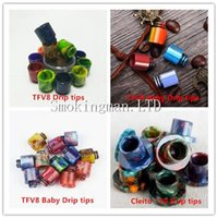 Wholesale drip tips sale resale online - Hot sale TFV8 Drip Tip Wide Bore Drip Tip Heat insulation Buttons Style Aluminium Epoxy Resin TFV8 Baby Cleito Mouthpiece Drip Tips