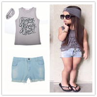 Wholesale Three Piece Vest For Kids - Girls fashion summer Vest outfits 3pc set Wide Headband Letters printing Sleeveless T shirt Jeans pants for 2-7T infants kids