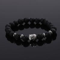 Wholesale Stone Bead Elastic Bracelet - 2015 Fashion jewelry Natural stone buddha beads bracelet men elastic rope chain charm bracelet for women Pulseras mujer