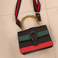 Wholesale bag handle strap - Fashion Designer Women Shoulder Bag Vintage Ladies Two-tone Wide Straps Crossbody Bag Female Brand Locked Bamboo Handle Totes Bag