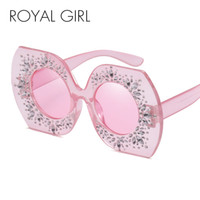 Wholesale hot gilt - ROYAL GIRL Retro Modern Brand Designer Women Sunglasses Oversized Crystal gilded Glasses Hot 2017 shades