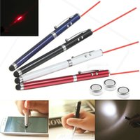 Wholesale Touch Phone Pointer - 4 in 1 Laser Pointer LED Torch Flashlight Touch Screen Stylus Ball Pen For Mobile Phones Tablets