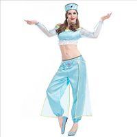 mavi göbek dansı toptan satış-Yeni Varış Mavi Prenses Yasemin Kostüm DHL Tarafından Seksi Cosplay Aladdin Sihirli Lamba Belly Dance Cadılar Bayramı Kleopatra Tema Parti Kostümleri
