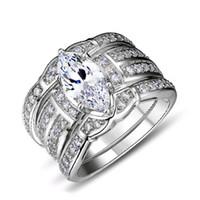birnen-diamant-größe großhandel-Größe 6-10 Luxus-Schmuck Fingerringe White Gold gefüllt Topaz Pear Cut simuliert Diamant Frauen Ehering 3 in 1 Set Geschenk