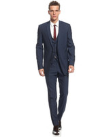 Wholesale Cheap Men S Suit Vests - Midnight Blue Slim Fit Suits for Grooms 2016 Top Quality Handmade Wedding Suits Design for Men Three Pieces Cheap (Jacket+Pants+Vest)