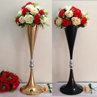Wholesale Black Vase Decoration - 70cm height gold  black metal wedding centerpiece flower shelf table stand event road lead flower vase 10 pcs  lot