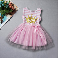 Wholesale Striped Baby Bow Dress - Baby Dress First Birthday Princess Children Clothes Gold Crown Letter Baby Girls Tutu Dress with Bow Birthday Toddler Outfit