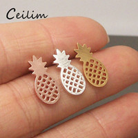 Wholesale Unique Earrings For Women - High quality hollowed pineapple ear studs for women unique design new arrival alloy rose gold & silver & gold plating studs earrings fashion