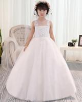 Wholesale Cute Lovely Beautiful Girls - Sleeveless Jewel Applique A-Line Tulle Lovely Baby Dresses Cute Flower Girl Dresses Beautiful Kids Formal Wear