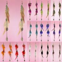Wholesale Pink Feather Chandelier - Feather Earrings 12 Colors wholesale lots Bronze Leaf Charm Chain Light Dangle Eardrop (Deep Pink Orange Army Green Turquoise Purple)(JF120)