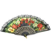 Wholesale free hand held fans resale online - Hot selling Plastic Flower Floral Fabric Lace Spanish Victorian Hand Fan Hand Held Dance Fan