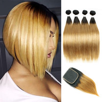 Wholesale wholesale ombre brazilian virgin hair online - Kiss Hair B Honey Blonde B Straight Ombre Human Hair Weave Bundles with Lace Closure Brazilian Virgin Hair