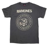Wholesale Distressed T Shirts - Ramones Distressed Crest T-Shirt Gray Men's T-Shirt Bravado Entertainment Mens T-Shirt Summer O Neck Cotton